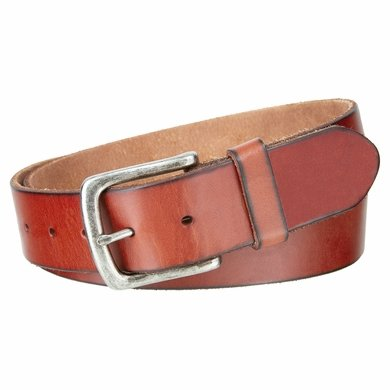 "Genuine Full Grain Leather Casual Jean Belt 1-1/2"" Wide - Tan"