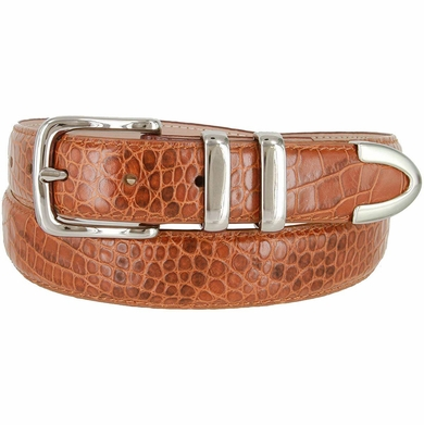 "Genuine Italian Calfskin Alligator Embossed Leather Office Dress Belt 1-1/4"" Wide - Tan"