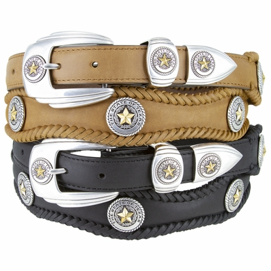 "Gold State of Texas Western Scallop Braided Leather Belt 1 3/8"" Wide"