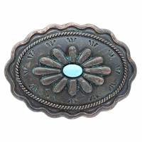 """H8389-2 Turquoise Inlay Flower Patina Buckle Fits 1-3/8"""" Wide Belt"""