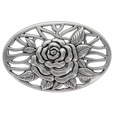 HA-0493 Silver Rose and Vines Oval Buckle 1-1/2""