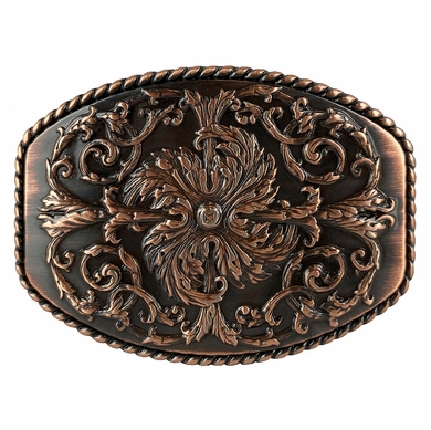 HA0016 Copper Floral Engraved Ornate Western Design Belt Buckle