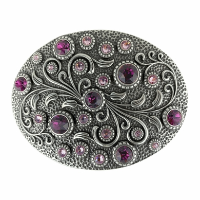 HA0860 Swarovski rhinestone Crystal Belt Buckle Antique Oval Floral Engraved Buckle - Amethyst Lt Amethyst