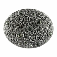 HA0860 Swarovski rhinestone Crystal Belt Buckle Antique Oval Floral Engraved Buckle - Silver-Black Diamond