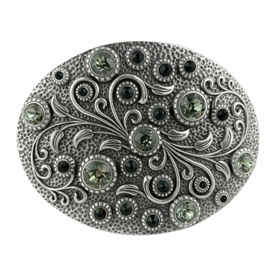 HA0860 Swarovski rhinestone Crystal Belt Buckle Antique Oval Floral Engraved Buckle - Silver-Black Diamond Jet