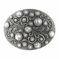 HA0860 Swarovski rhinestone Crystal Belt Buckle Antique Oval Floral Engraved Buckle - Silver-Crystal