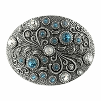 HA0860 Swarovski rhinestone Crystal Belt Buckle Antique Oval Floral Engraved Buckle - Silver-Crystal Aquamarine