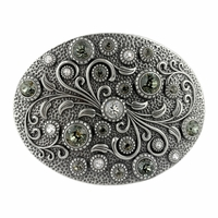 HA0860 Swarovski rhinestone Crystal Belt Buckle Antique Oval Floral Engraved Buckle - Silver-Crystal Black Diamond