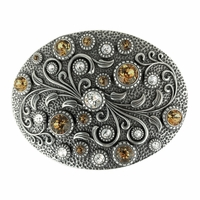 HA0860 Swarovski rhinestone Crystal Belt Buckle Antique Oval Floral Engraved Buckle - Silver-Crystal Lt Col Topaz