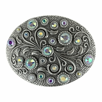 HA0860 Swarovski rhinestone Crystal Belt Buckle Antique Oval Floral Engraved Buckle - Silver-CrystalAB
