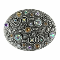 HA0860 Swarovski rhinestone Crystal Belt Buckle Antique Oval Floral Engraved Buckle - Silver-CrystalAB Lt Col Topaz