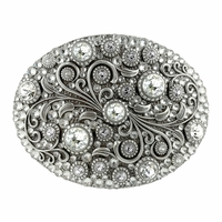 HA0860 Swarovski rhinestone Crystal Belt Buckle Antique Oval Floral Engraved Buckle - Silver_Full Crystal