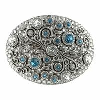 HA0860 Swarovski rhinestone Crystal Belt Buckle Antique Oval Floral Engraved Buckle - Silver_Full Crystal Aquamarine