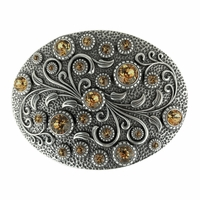 HA0860 Swarovski rhinestone Crystal Belt Buckle Antique Oval Floral Engraved Buckle - Silver_Lt Col Topaz
