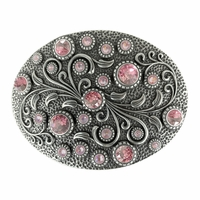 HA0860 Swarovski rhinestone Crystal Belt Buckle Antique Oval Floral Engraved Buckle - Silver_Lt Rose