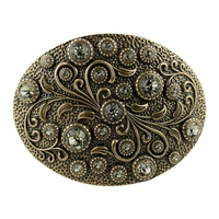 HA0860 Swarovski rhinestone Crystal Belt Buckle Brass Oval Floral Engraved Buckle - Brass_Black Diamond