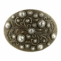 HA0860 Swarovski rhinestone Crystal Belt Buckle Brass Oval Floral Engraved Buckle - Brass_Crystal