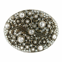 HA0860 Swarovski rhinestone Crystal Belt Buckle Brass Oval Floral Engraved Buckle - Brass-Full Crystal