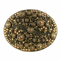 HA0860 Swarovski rhinestone Crystal Belt Buckle Brass Oval Floral Engraved Buckle - Brass-Full Lt Col Topaz