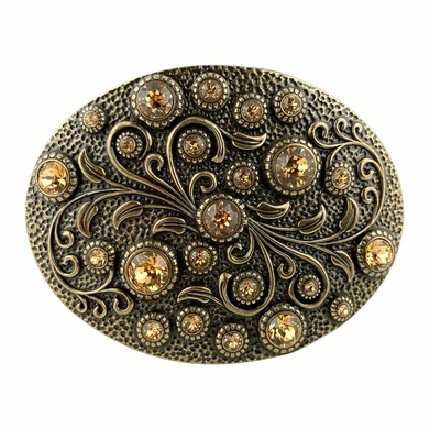 HA0860 Swarovski rhinestone Crystal Belt Buckle Brass Oval Floral Engraved Buckle - Brass_Lt Col Topaz