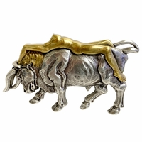 HA1437 Antique Silver/Gold Lady Bull Belt Buckle