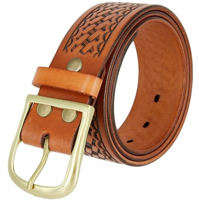 "Heavy Duty Basketweave Work Uniform Gun Genuine Leather Belt 1.75"" wide for Men - Tan"
