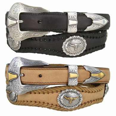 Jonestown Western Long Horn Conchos Ranger Woven Leather Belt