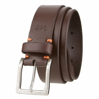 """Lee Belts Casual Genuine Leather Smooth Belt Nickel Brush Plated Buckle 1-3/8"""" Wide"""