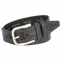 "Lejon Alligator Pattern And Texture Silver Finish Buckle Black Belt 1 1/2"" Wide"