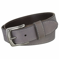 Made In Italy Men's Full Grain Leather Casual Jean Belt - Grey