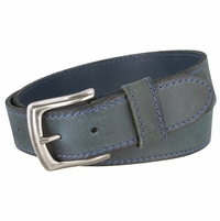 Made In Italy Men's Full Grain Leather Casual Jean Belt - Moss Green