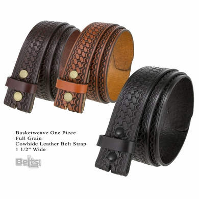 "Massachusetts Basketweave One Piece Full Grain Cowhide Leather Belt Strap 1 1/2"" Wide"