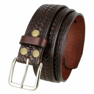 "Men's Basketweave Work Uniform Leather Belt 1-1/2"" Wide - Brown"