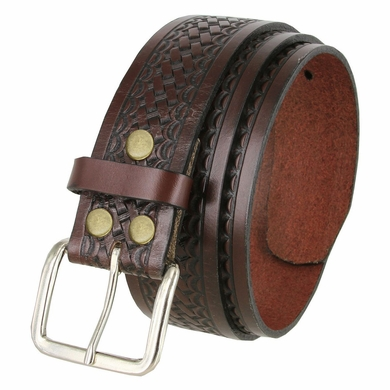 "Men's Basketweave Work Uniform Leather Belt 1-3/4"" Wide - Brown"