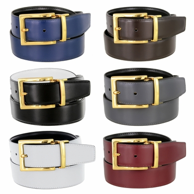 "Men's Belt Genuine Leather Reversible Belt Rotated Buckle 1-3/8"" wide Dress Casual Belt - Gold Buckle"