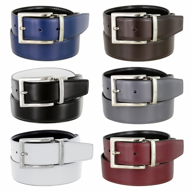 "Men's Belt Genuine Leather Reversible Belt Rotated Buckle 1-3/8"" wide Dress Casual Belt - Silver Buckle"