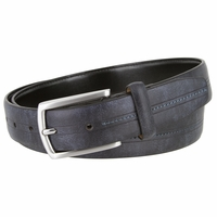 "Men's Casual Genuine Leather with a Middle Stitched Design Belt 1 1/8"" Wide All Colors"