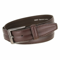 "Men's Center Line Stitched Smooth Genuine Leather Dress Belt 1-3/8"" wide with Gunmetal Plated Buckle"