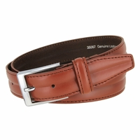 "Men's Center Line Stitched Smooth Genuine Leather Dress Belt 1-3/8"" wide with Nickel Plated Buckle"