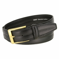 "Men's Center Lined Smooth Genuine Leather Dress Belt 1-3/8"" wide with Gold Plated Buckle"