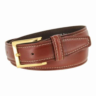 "Men's Double Edge Stitched Smooth Genuine Leather Dress Belt 1-3/8"" wide with Gold Plated Buckle"