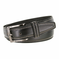 "Men's Double Edge Stitched Smooth Genuine Leather Dress Belt 1-3/8"" wide with Gunmetal Plated Buckle"