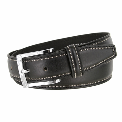 "Men's Double Edge Stitched Smooth Genuine Leather Dress Belt 1-3/8"" wide with Nickel Plated Buckle"