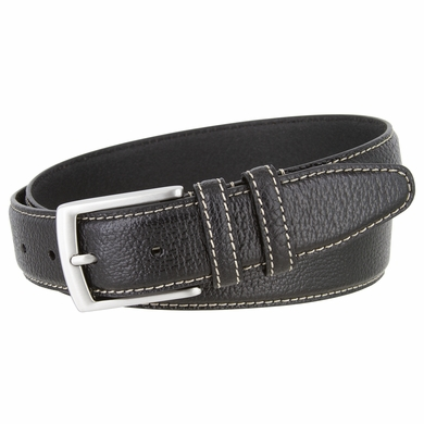 "Men's Genuine Bison Leather Dress Belt-Black 1-3/8"" wide"
