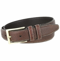 "Men's Genuine Bison Leather Dress Belt-Brown 1-1/8"" wide"