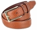 "Men's Genuine Bison Leather Dress Belt-Tan 1-1/8"" wide2"