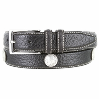 "Men's Genuine Bison Leather Dress Belt with Conchos 1-1/8"" wide - Black"