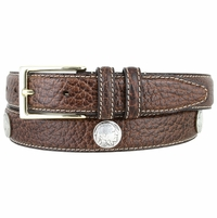 "Men's Genuine Bison Leather Dress Belt with Conchos 1-1/8"" wide - Brown"