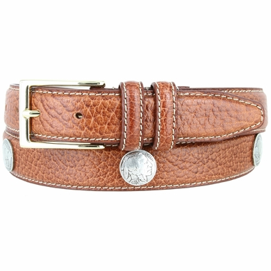 "Men's Genuine Bison Leather Dress Belt with Conchos 1-1/8"" wide - Tan"