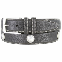 "Men's Genuine Bison Leather Dress Belt with Conchos 1-3/8"" wide - Black"